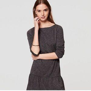 Loft Charcoal Gray Drop Waist Flounce Dress